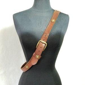 Vintage 12 Gauge Brown Leather Belt Size Large
